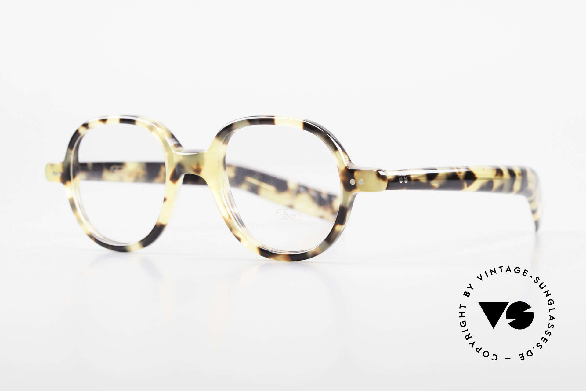 """Lunor A50 Round Lunor Glasses Acetate, round frame with a stylish """"TOKYO TORTOISE"""" pattern, Made for Men and Women"""