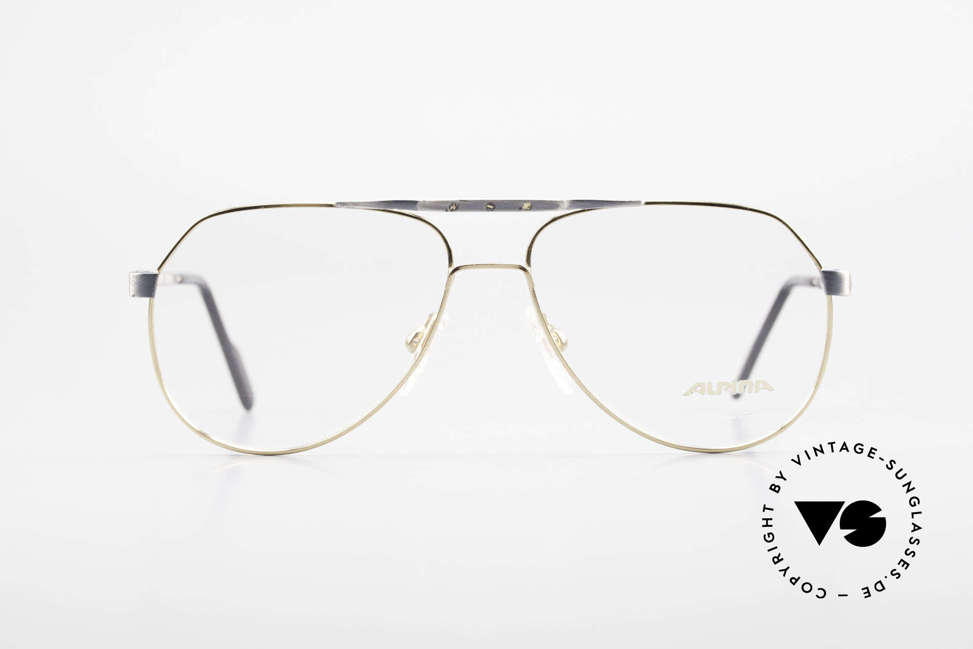 Alpina M1F770 Vintage Glasses Aviator Style, 90's aviator specs, brushed metal and gold-plated, Made for Men