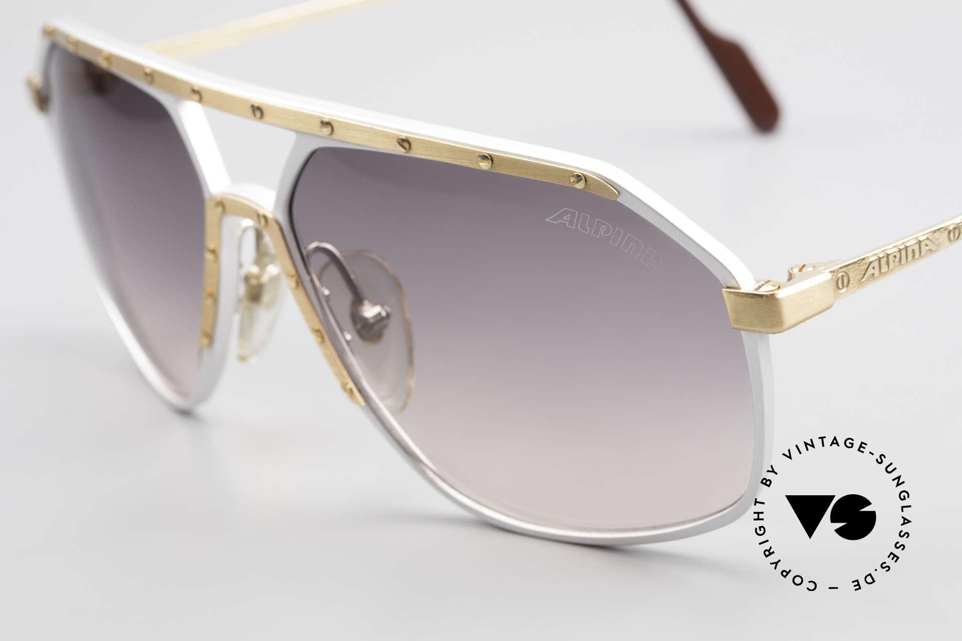 Alpina M6 Vintage Glasses Par Excellence, silver frame, golden screws and ornamental cover, Made for Men and Women
