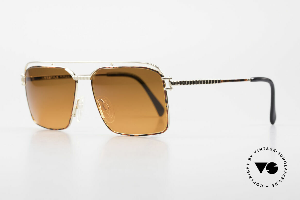 Neostyle Dynasty 424 - L 80's Titanium Men's Shades, with gaudy SUNSET lenses: orange-gradient tint, Made for Men