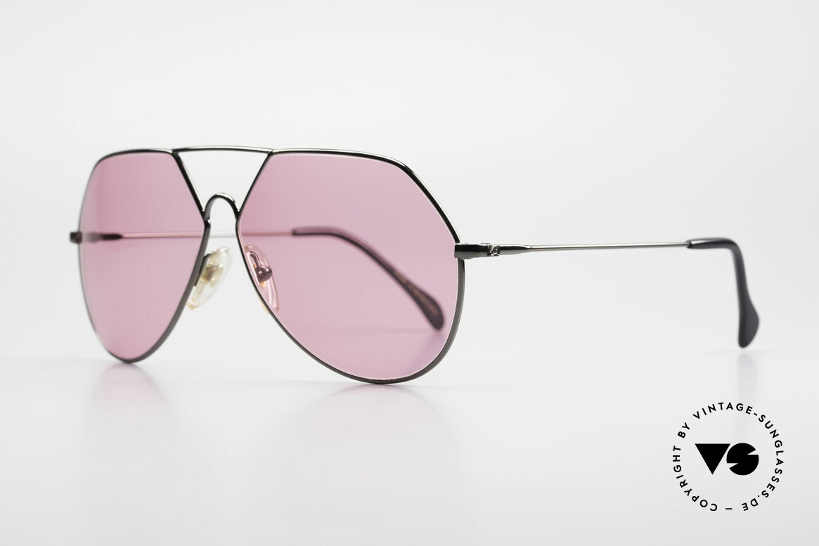 "Alpina TR6 Old 80's Aviator Frame Pink, ""gunmetal"" frame with pink sun lenses (100% UV), Made for Men"