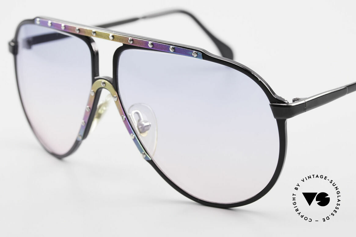Alpina M1 Limited Titanium Edition 80's, with matching sun lenses in baby-blue/pink gradient, Made for Men and Women