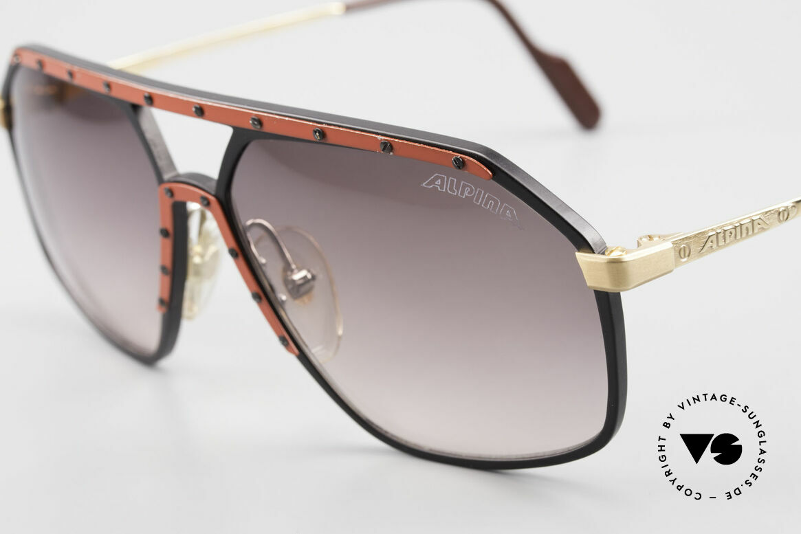 Alpina M6 Rare 80's Vintage Sunglasses, here, the SUPER RARE version in red / black / gold, Made for Men and Women