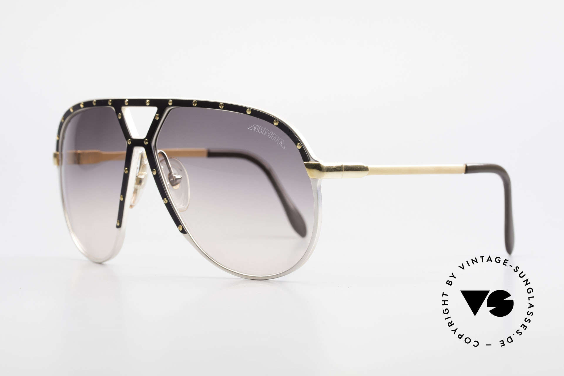 Alpina M1 Stevie Wonder 80's Sunglasses, ultra rare special edition (silver / black and gold), Made for Men
