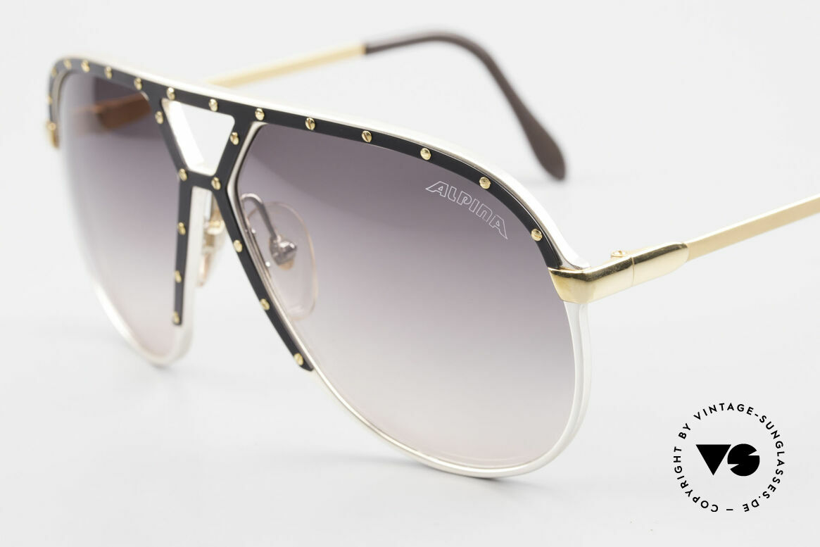 Alpina M1 Stevie Wonder 80's Sunglasses, with black ornamental cover and 24 golden screws, Made for Men