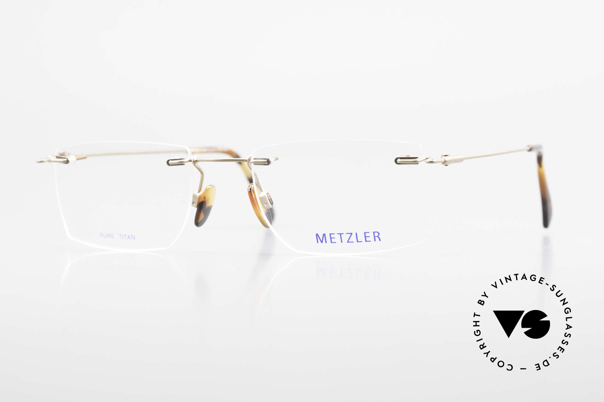 Metzler 1484 Rimless Vintage Glasses Titan, Metzler vintage men's glasses of the 1990's, size 53/21, Made for Men