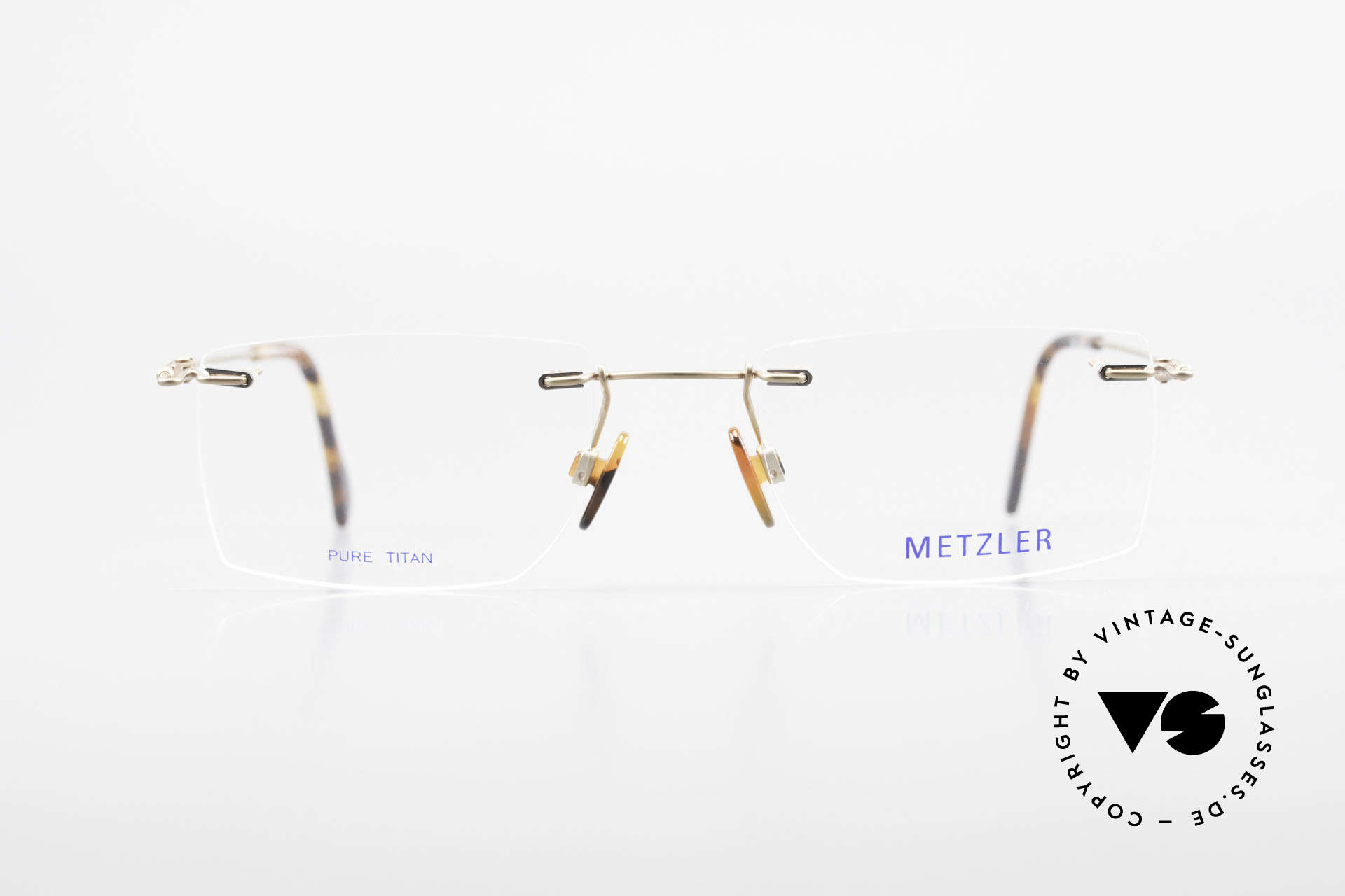 Metzler 1484 Rimless Vintage Glasses Titan, noble 'TITANIUM' frame; rimless and made in Germany, Made for Men