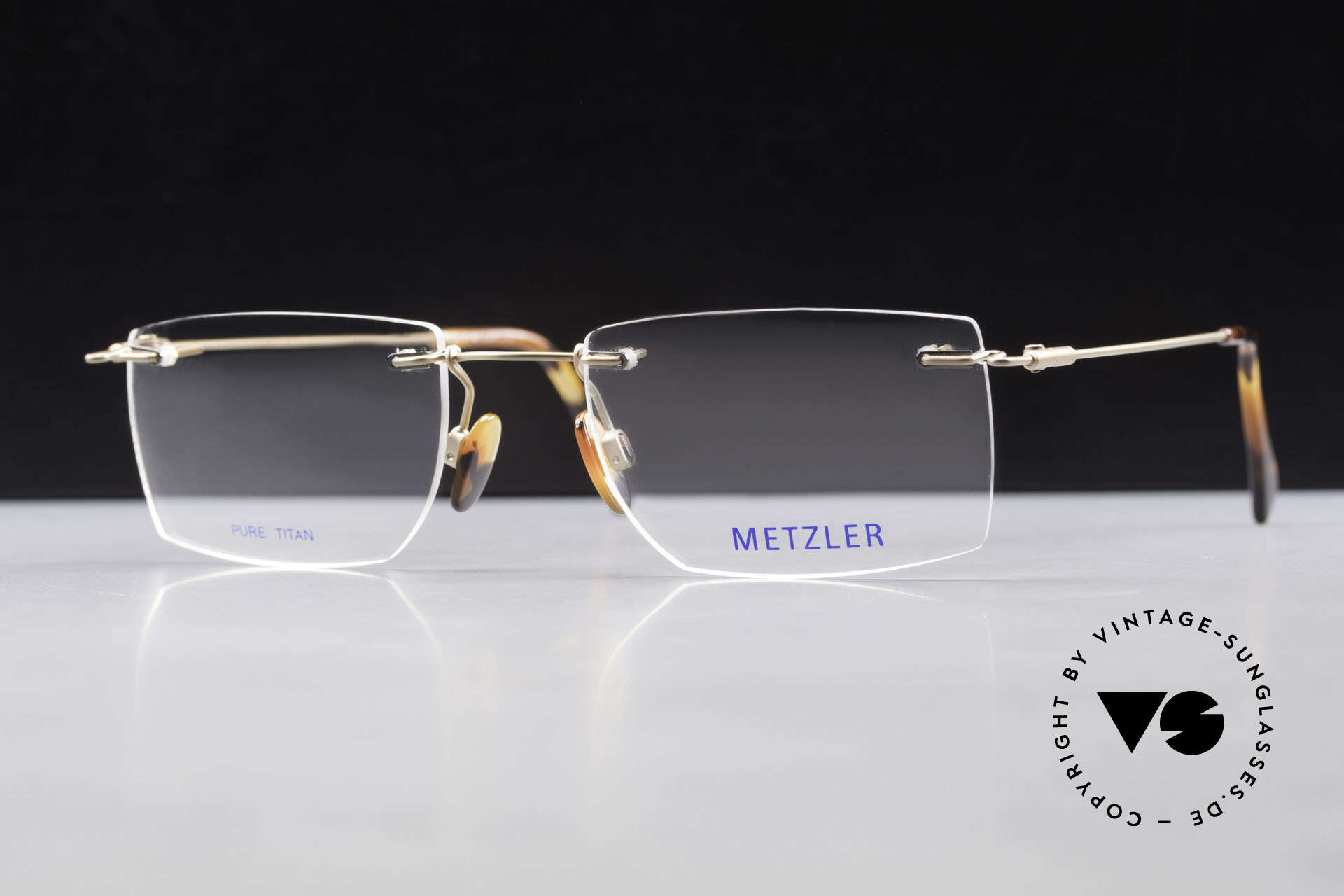 Metzler 1484 Rimless Vintage Glasses Titan, Size: medium, Made for Men