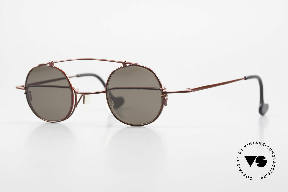 Theo Belgium Gordon Reading Glasses With Clip On, ingenious 90's designer eyeglasses by THEO Belgium, Made for Men and Women