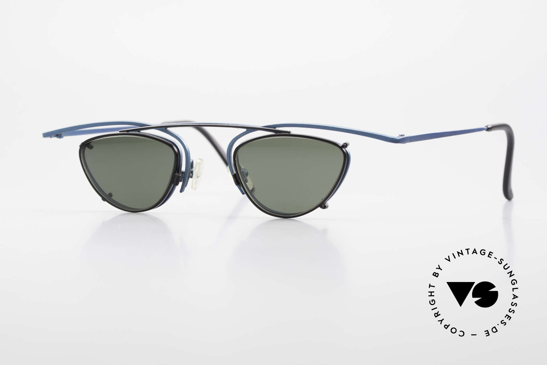 Theo Belgium Rhum Designer Glasses With Clip On, interesting 90's designer eyeglasses by THEO Belgium, Made for Men and Women