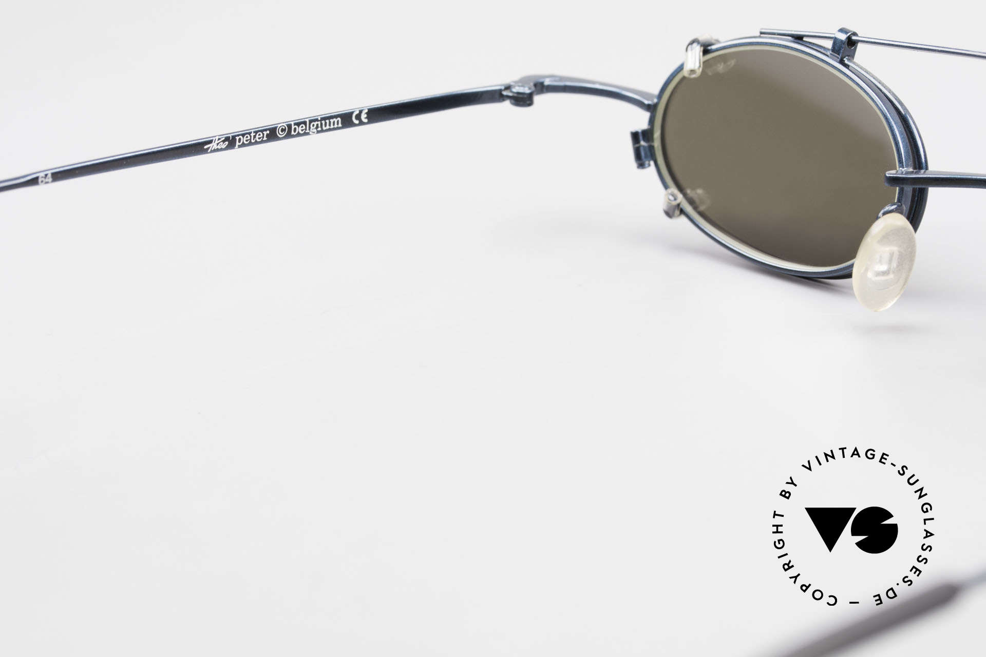 Theo Belgium Peter Oval Eyeglasses With Clip On, NO RETRO eyewear, but a 20 years old THEO ORIGINAL, Made for Men and Women