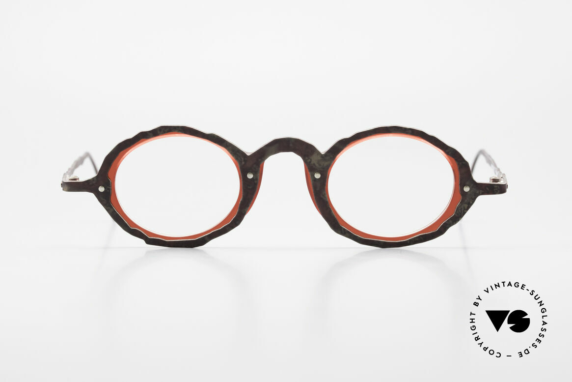 Theo Belgium Eye-Witness GG Avant-Garde Eyeglasses 90's, these models were apparently unfinished & asymmetrical, Made for Men and Women