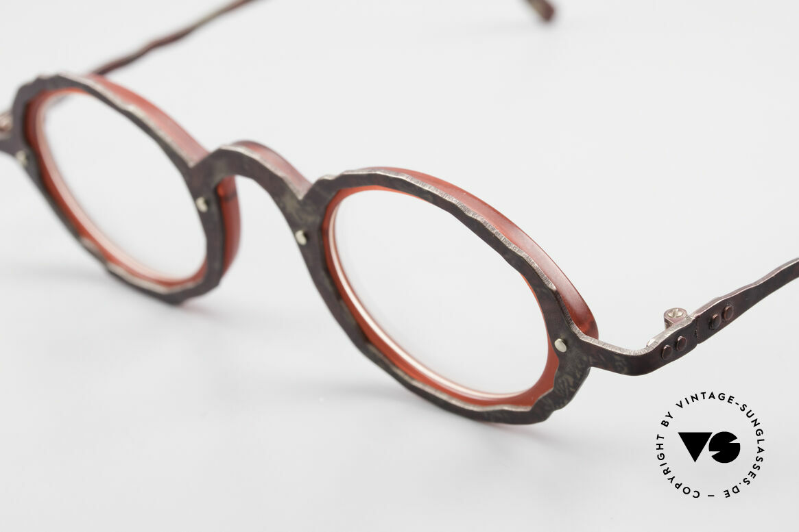 Theo Belgium Eye-Witness GG Avant-Garde Eyeglasses 90's, this EW model looks antique rubiginose and ruby-colored, Made for Men and Women