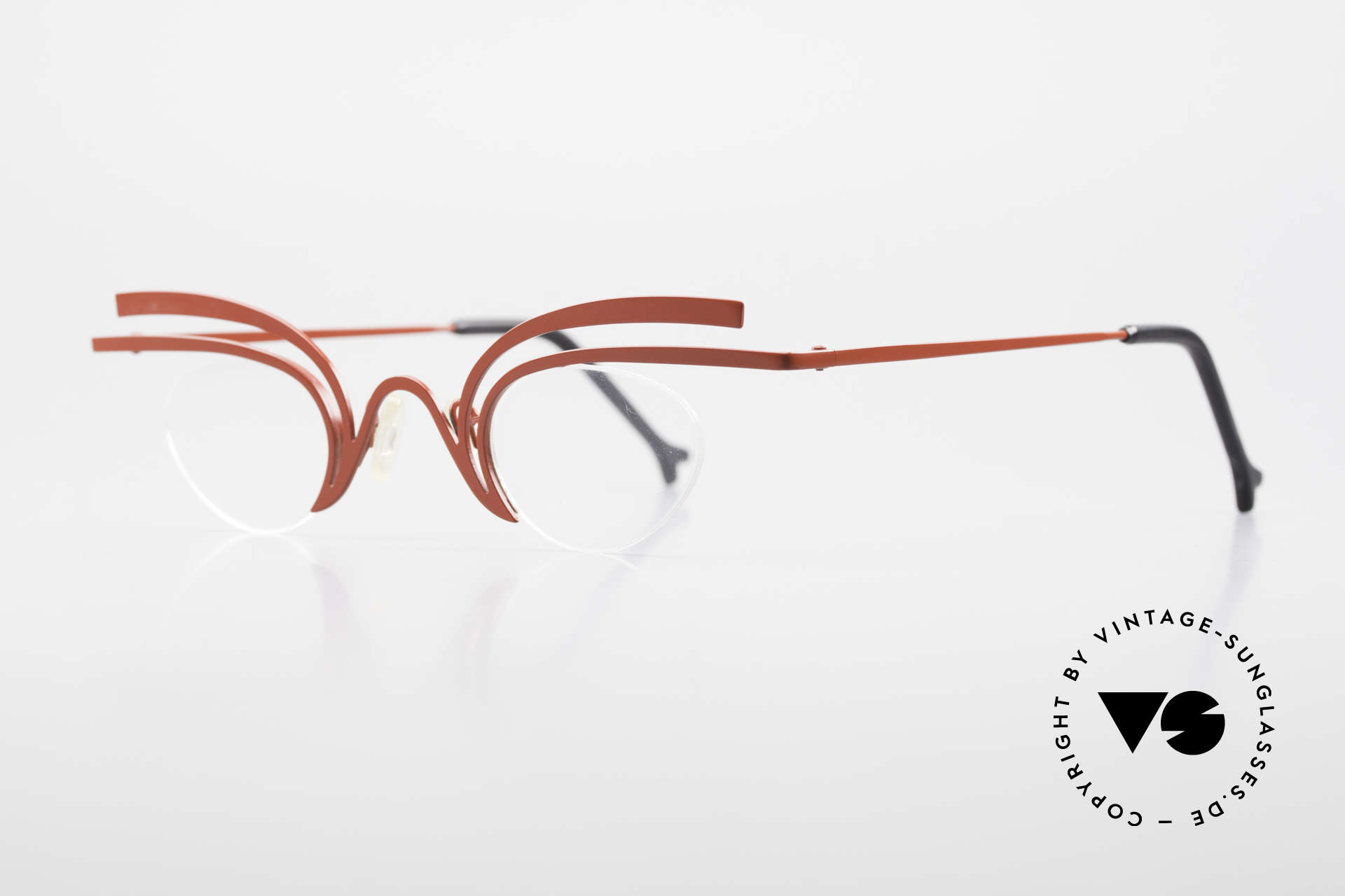 Theo Belgium Fly Crazy Vintage Ladies Glasses, extraordinary 90s eyeglasses in top-quality; art object, Made for Women
