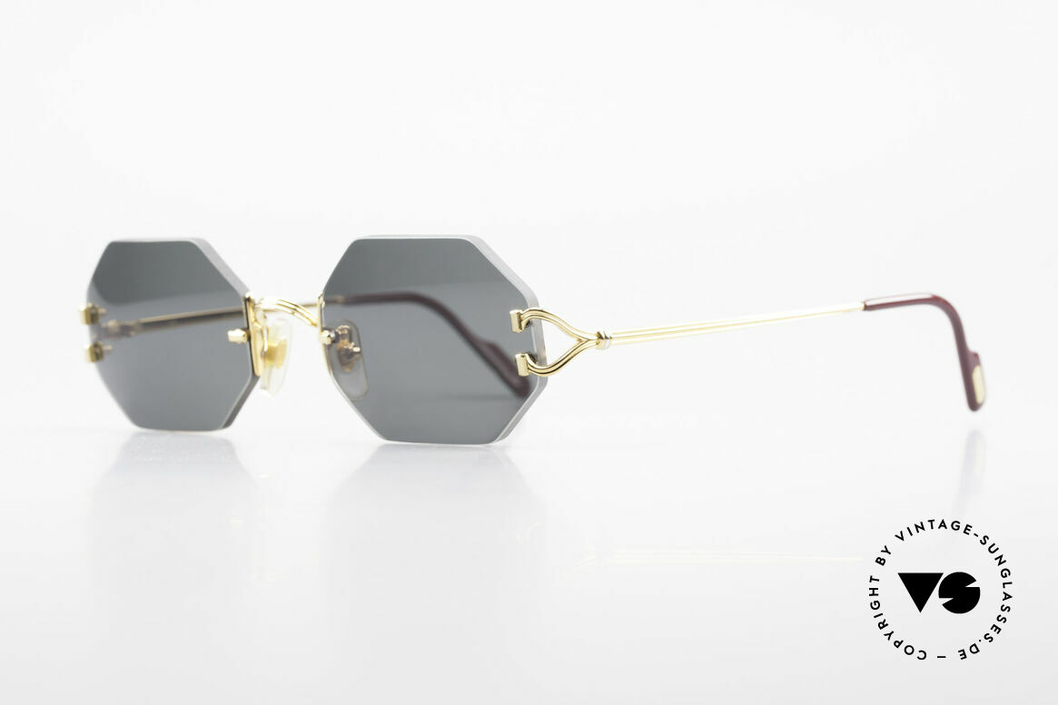 Cartier Rimless Octag Rimless Octagonal Shades - L, customized by our optician; a LARGE size (140mm), Made for Men and Women