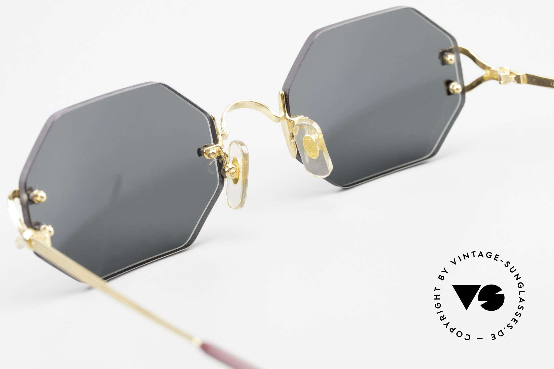 Cartier Rimless Octag Rimless Octagonal Shades - L, with new CR39 UV400 lenses in gray-green G15 color, Made for Men and Women