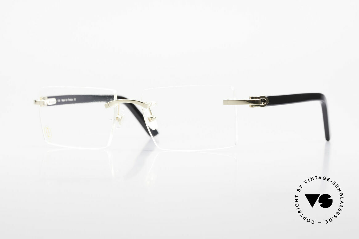 Cartier Canazei Rimless Luxury Frame Square, square vintage eyeglass by Cartier in size 53/16, 135, Made for Men and Women