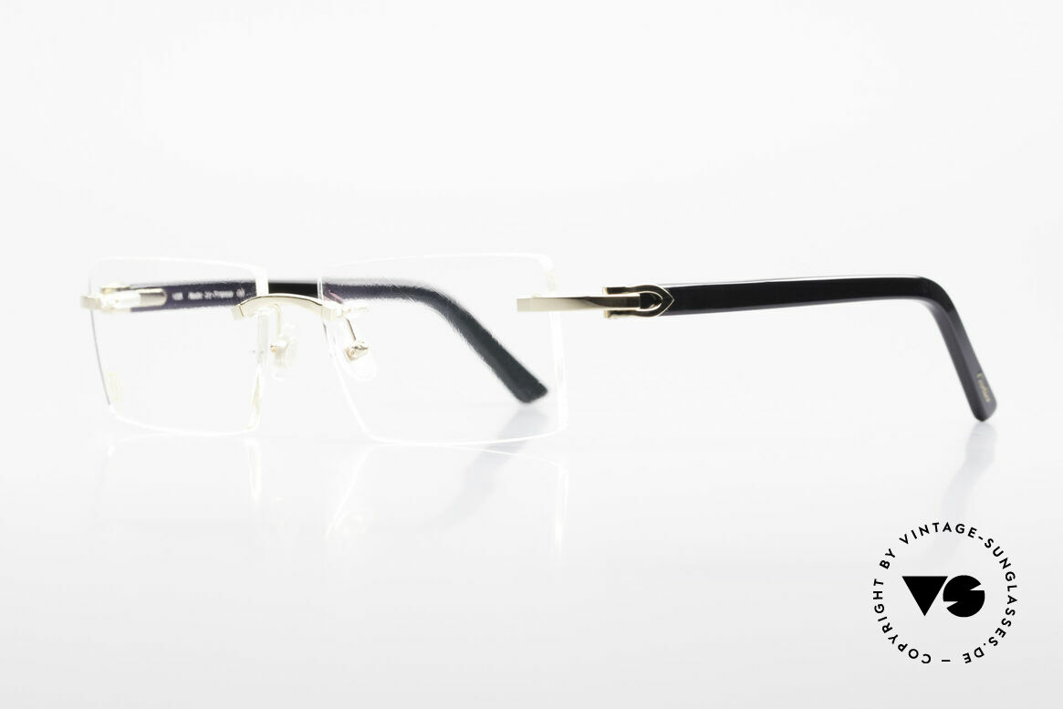 Cartier Canazei Rimless Luxury Frame Square, Canazei, shiny gold, champagne black, No. T8101077, Made for Men and Women