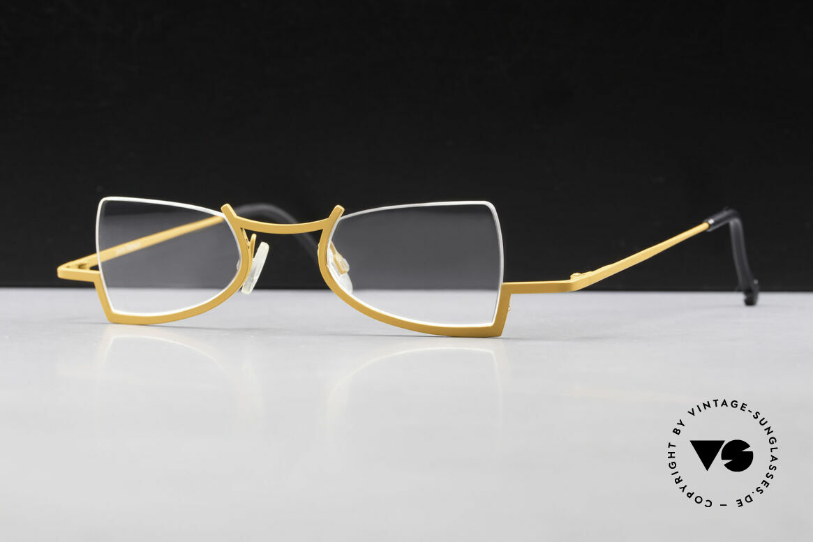 Theo Belgium Kyuu Crazy Reading Glasses Titanium, crazy reading eyeglasses by Theo Belgium of the 90's, Made for Women