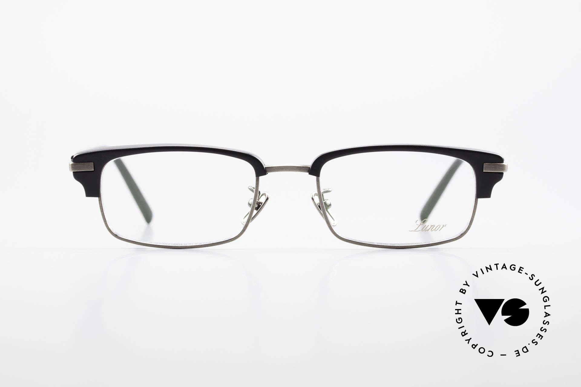Lunor Combi II Mod 80 Combi Titanium Eyeglasses, black acetate front and all metal parts = 100% Titanium, Made for Men and Women