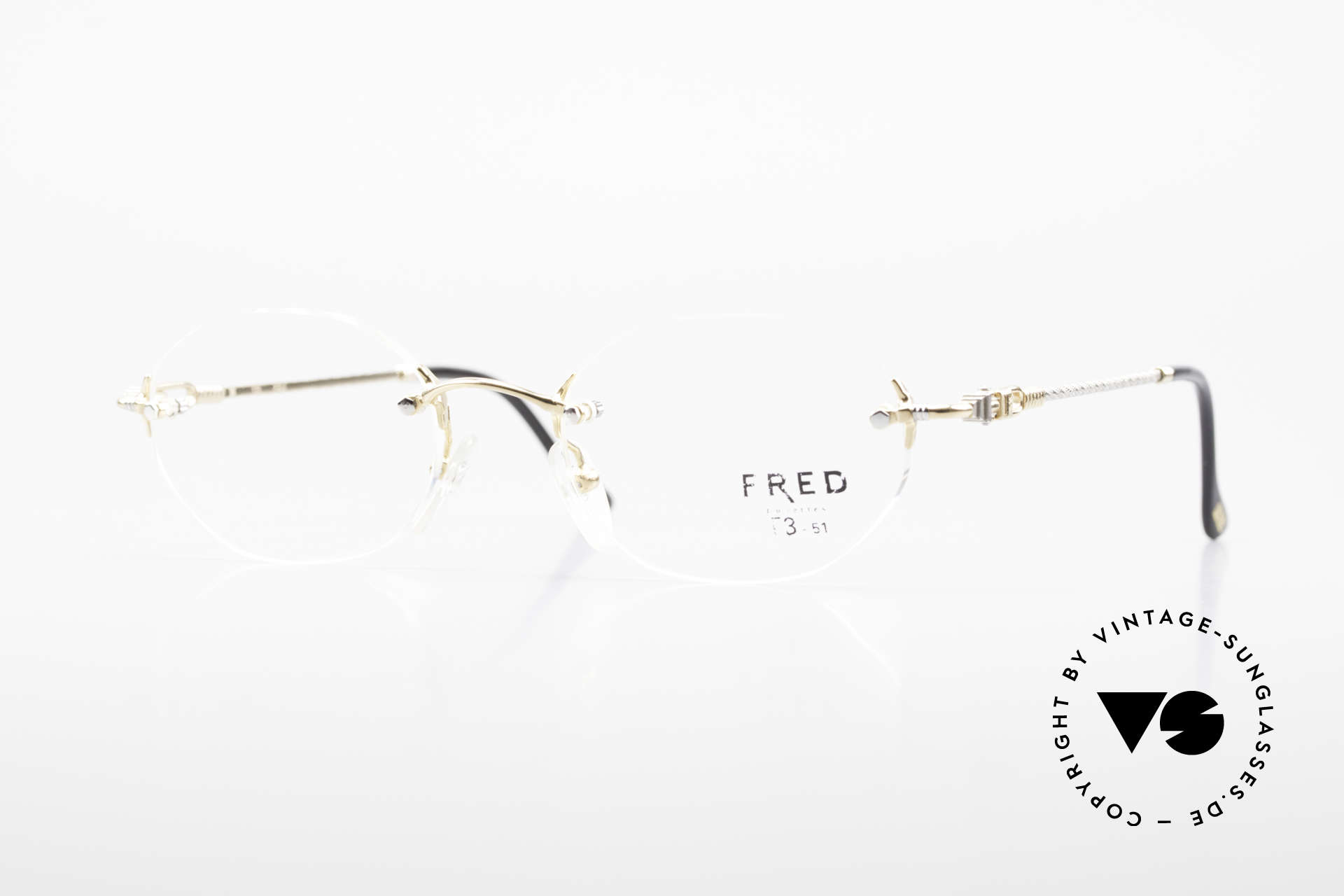 Fred Fidji Rimless Round Luxury Glasses, Fred glasses, model Fidji, 51/20 with orig. demo lenses, Made for Men and Women
