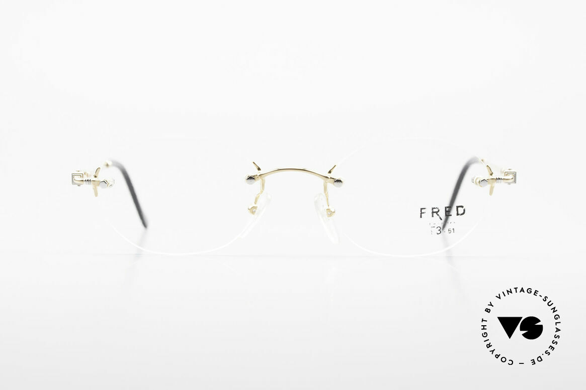Fred Fidji Rimless Round Luxury Glasses, marine design (distinctive FRED) in top-notch quality!, Made for Men and Women