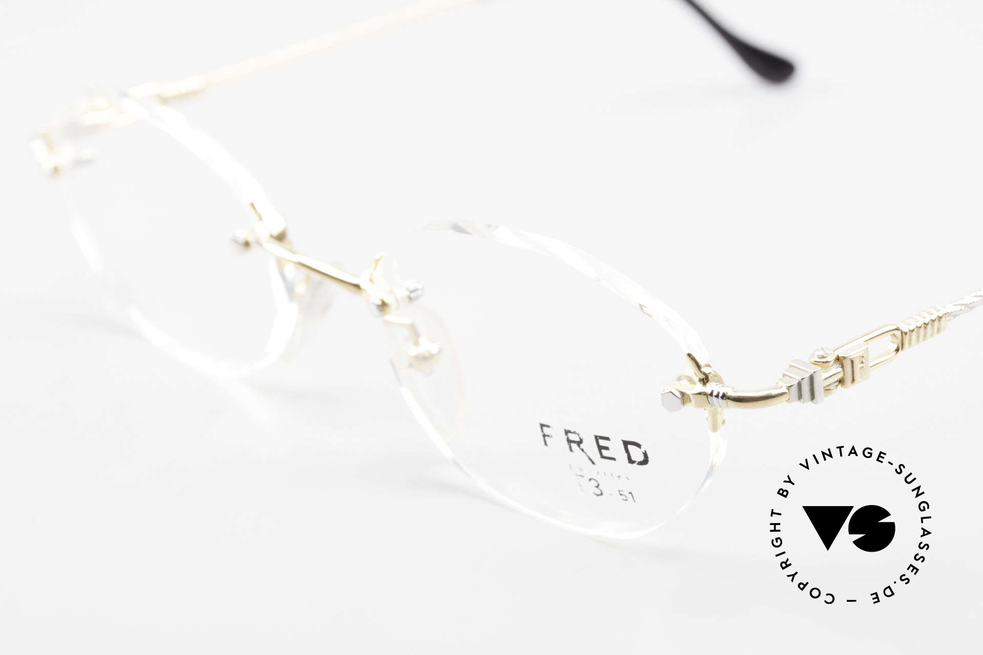 Fred Fidji Rimless Round Luxury Glasses, temples are twisted like a hawser; sailor's MUST HAVE!, Made for Men and Women