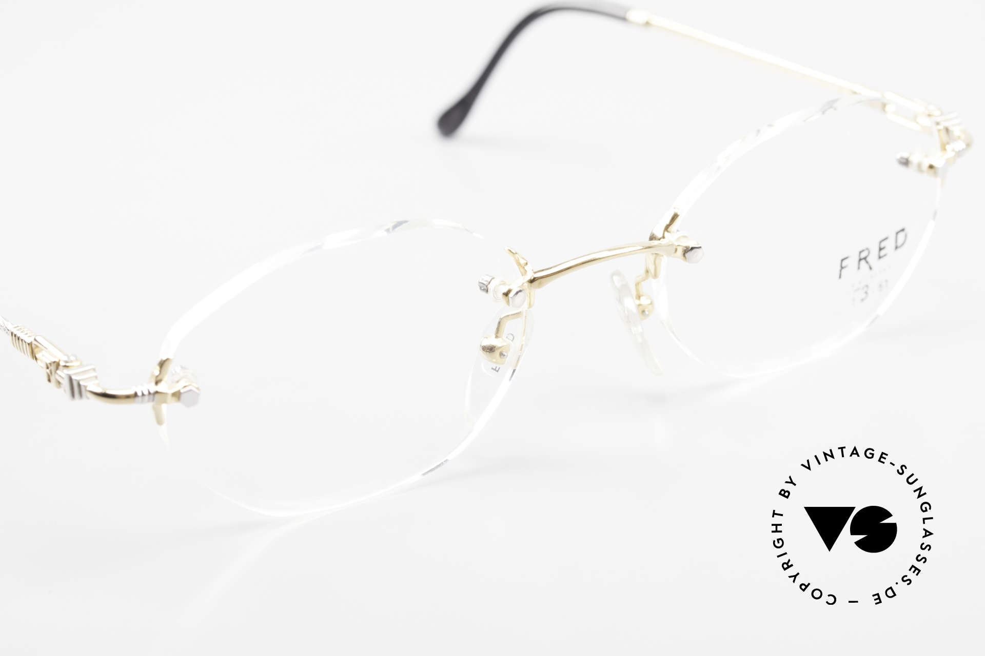 Fred Fidji Rimless Round Luxury Glasses, precious bicolor edition (rosé-gold & platinum-plated), Made for Men and Women