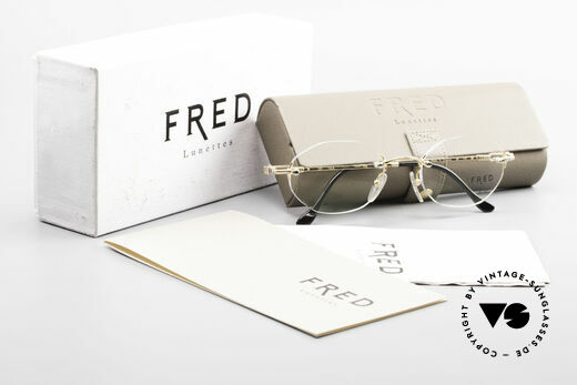 Fred Fidji Rimless Round Luxury Glasses, unworn 90's rarity comes with original packing by FRED, Made for Men and Women