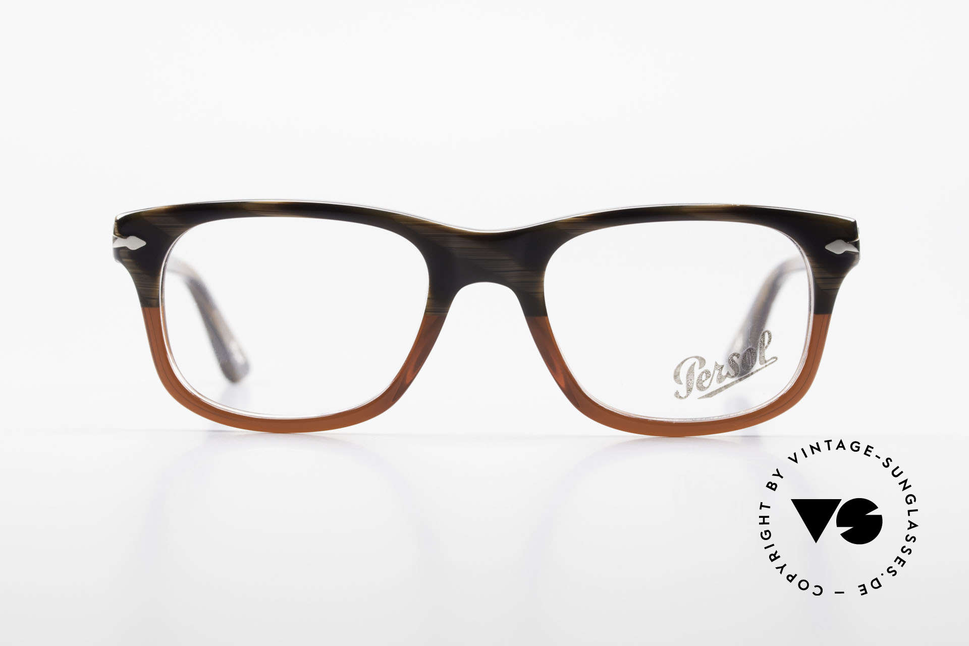 Persol 3029 Small Persol Eyeglasses Unisex, great pattern: root wood/brown & ruby-colored, Made for Men and Women
