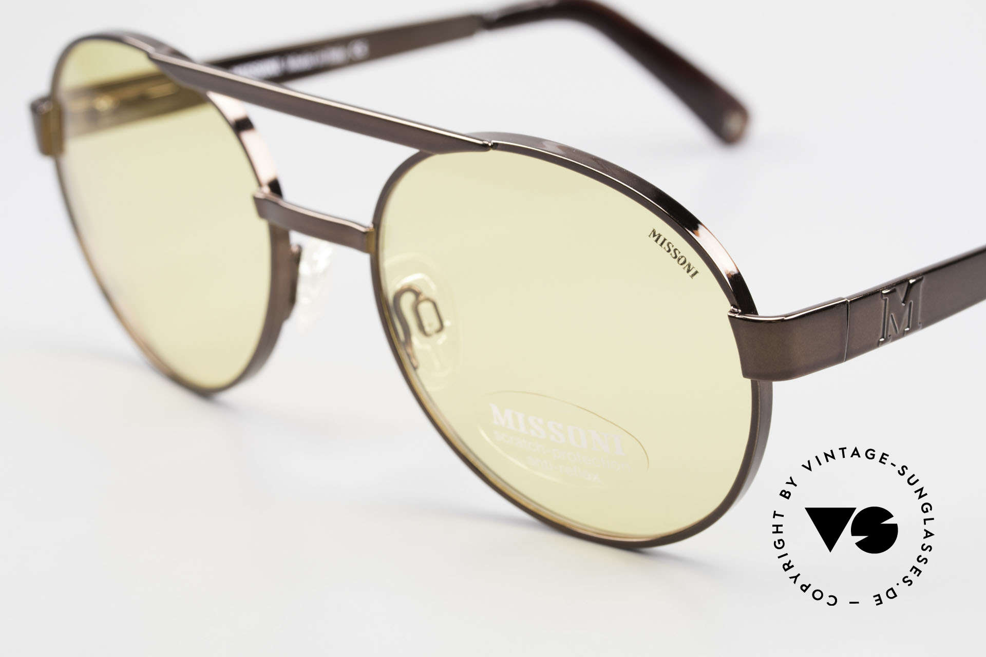 Missoni 0099 Round Panto 90's Sunglasses, with yellow lenses: scratch-protection, anti-reflex, Made for Men