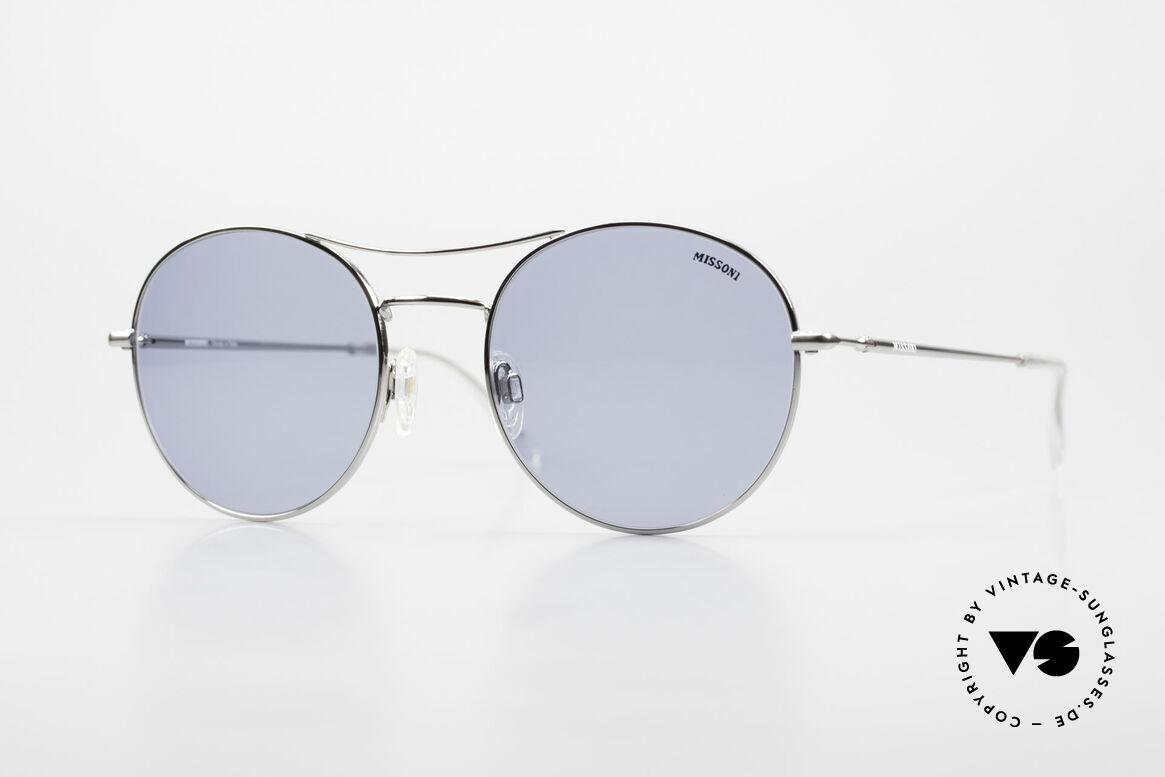 Missoni 0439 Round Aviator 90's Sunglasses, Missoni 0439 sunglasses, silver chrome, 55-20, 135, Made for Men and Women
