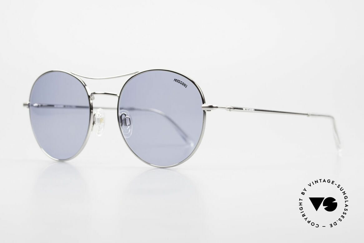 Missoni 0439 Round Aviator 90's Sunglasses, very high wearing comfort thanks to spring hinges, Made for Men and Women