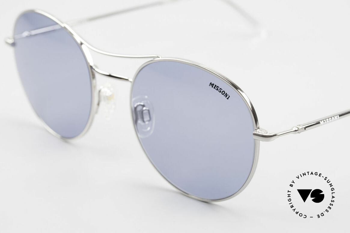 Missoni 0439 Round Aviator 90's Sunglasses, blue sun lenses (100% UV) can be replaced optionally, Made for Men and Women