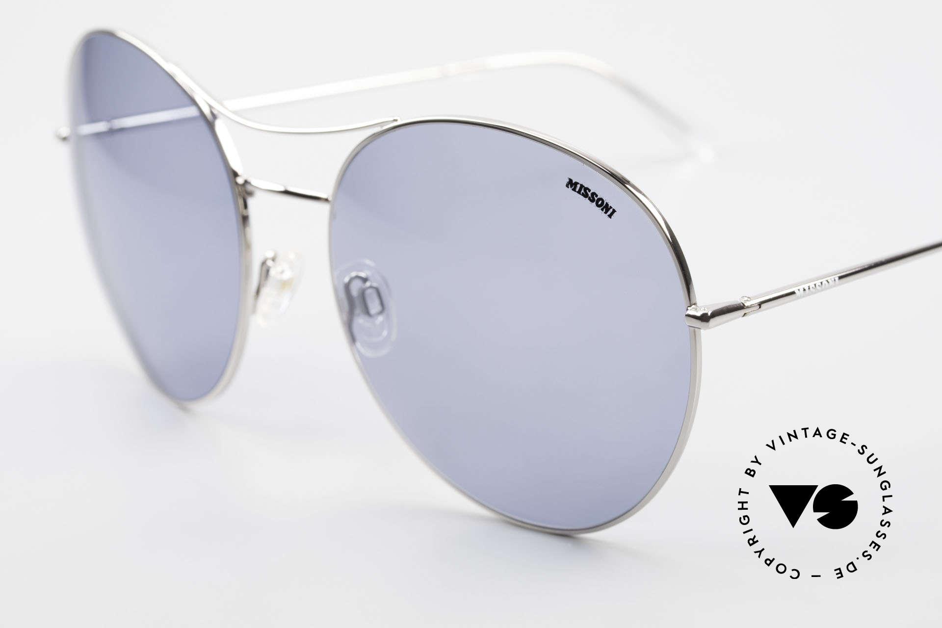 Missoni 0440 Huge XXL Aviator Sunglasses, navy blue sun lenses (100% UV) with MISSONI logo, Made for Men and Women
