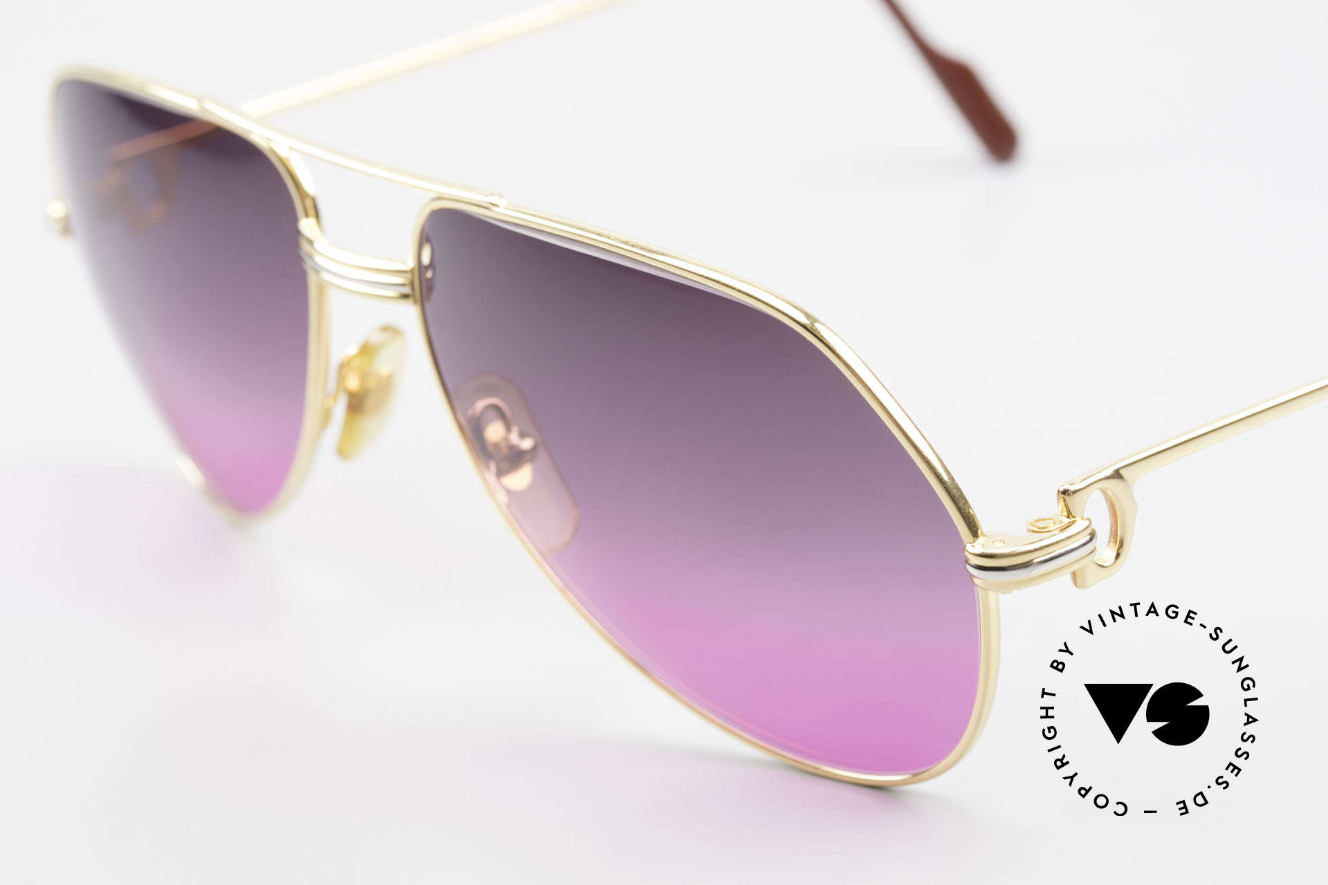 Cartier Vendome LC - M 80's Sunglasses Aviator Luxury, new fancy sun lenses with purple-pink gradient; 100% UV, Made for Men and Women