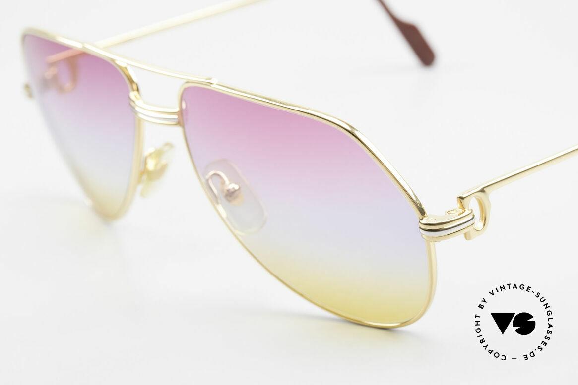 Cartier Vendome LC - M 80's 90's Aviator Sunglasses, ultra rare, new TRICOLOR customized GRADIENT lenses, Made for Men and Women