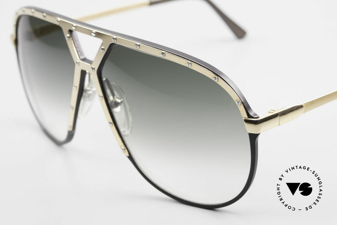 Alpina M1 80's Sunglasses West Germany, black frame / golden cover with 24 silver screws, Made for Men