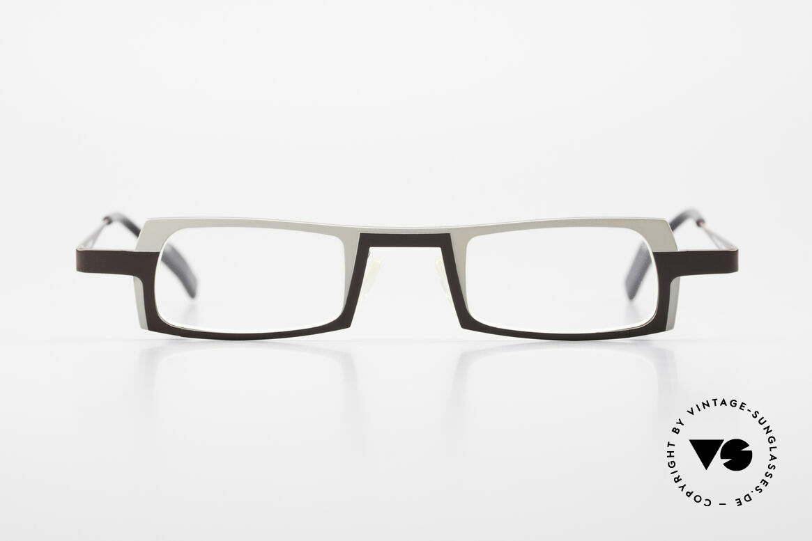 Theo Belgium Wimsey Square Men's Glasses Titanium, striking frame design: white and dark brown finish, Made for Men