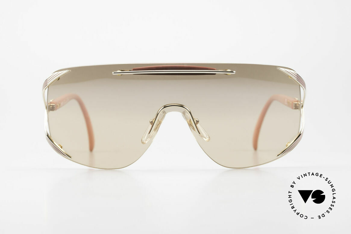 "Christian Dior 2434 Light Pink Mirrored Shades 80s, single lens (""shield design"") for a PANORAMA view, Made for Women"