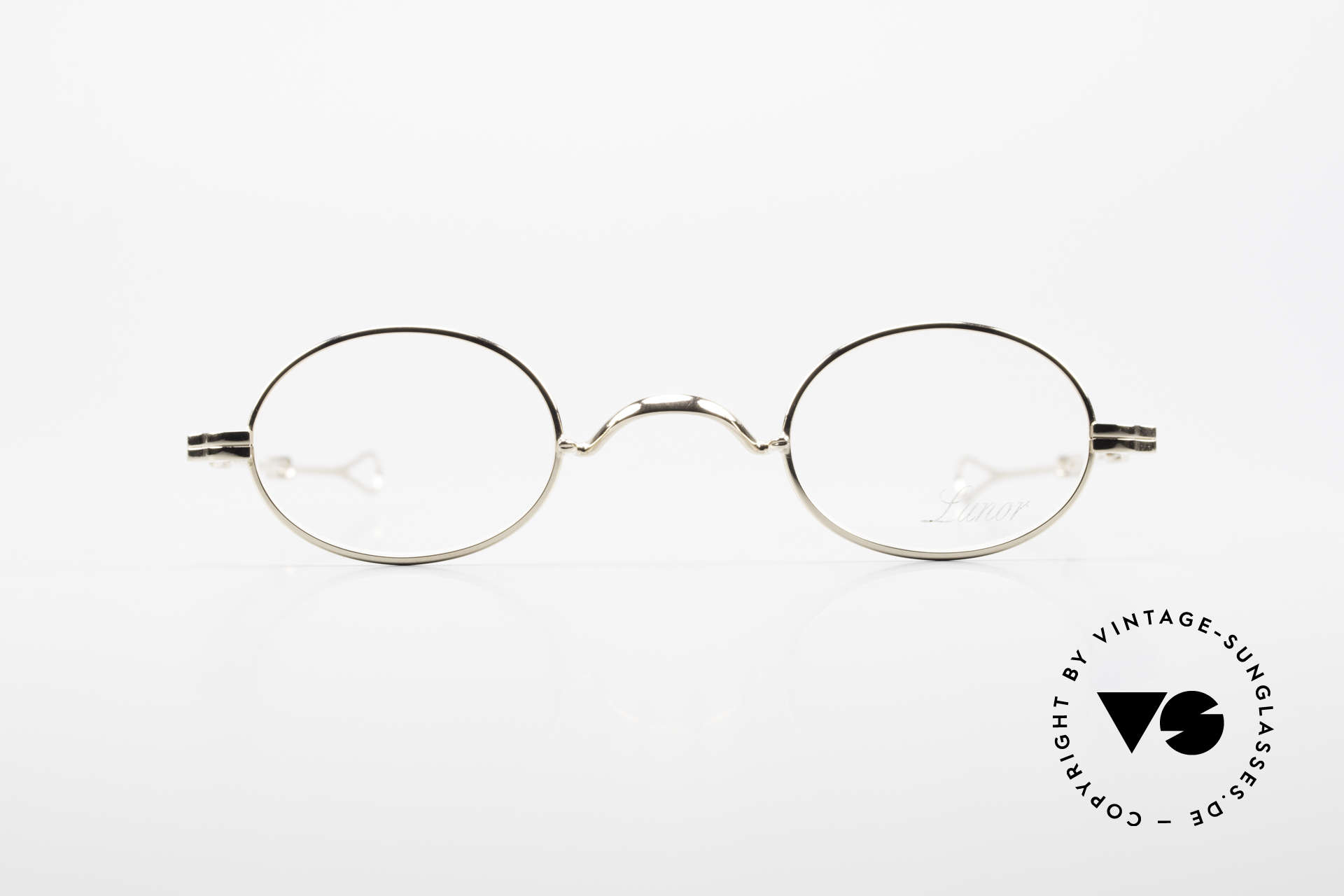 Lunor I 04 Telescopic XS Oval Glasses Slide Temples, Lunor: timeless classics, GOLD-plated, made in Germany, Made for Men and Women