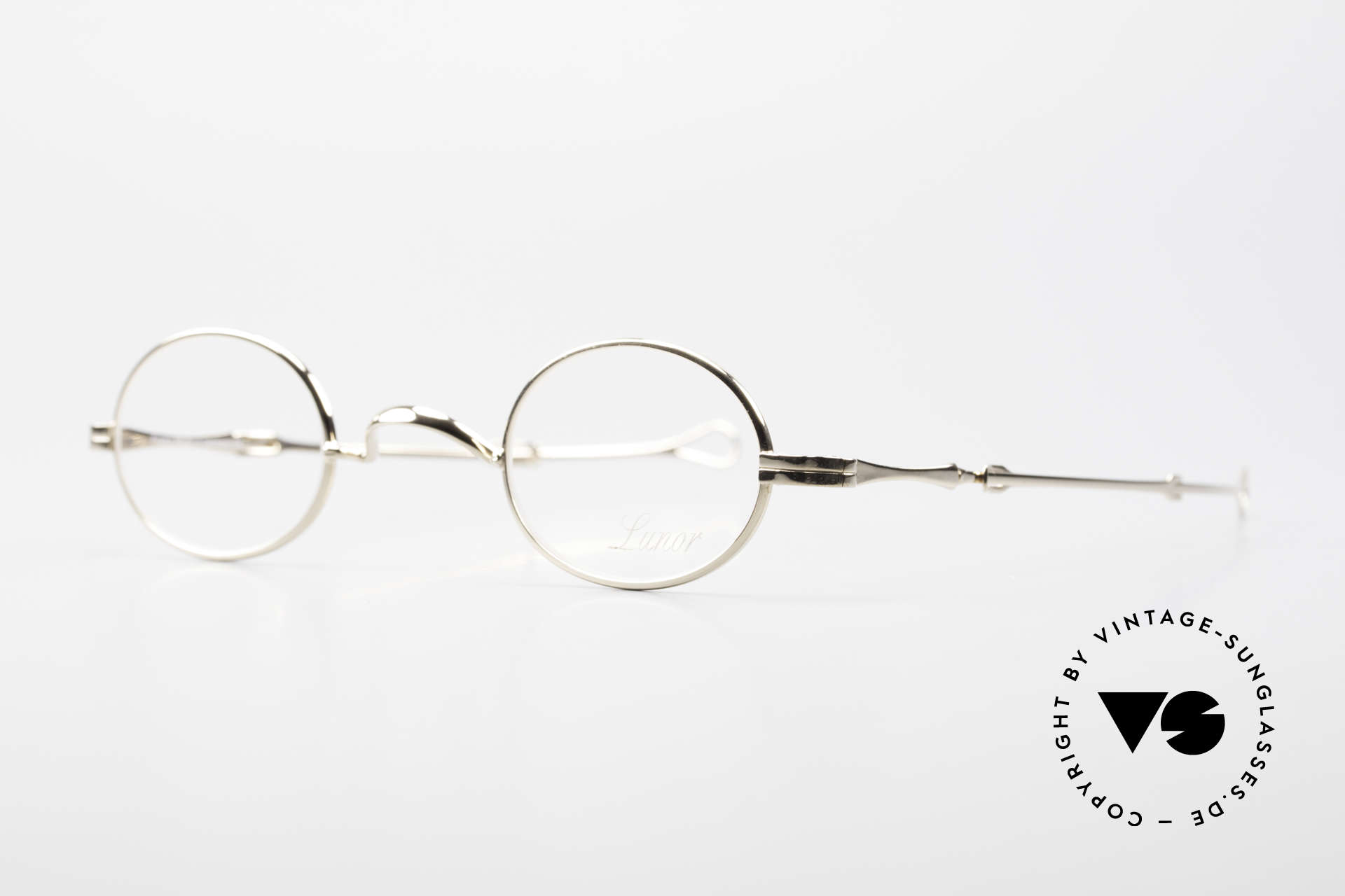 Lunor I 04 Telescopic XS Oval Glasses Slide Temples, model I 04 = size 37°26, temple length: 118mm - 155 mm, Made for Men and Women