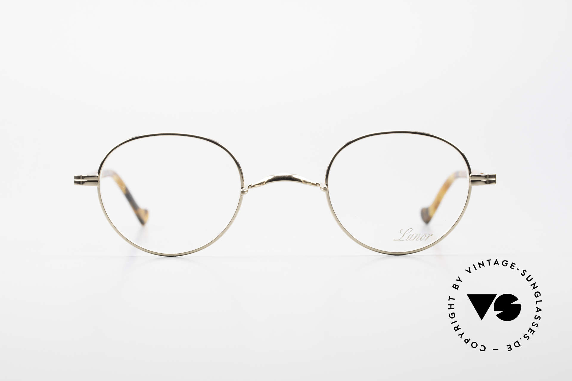 Lunor II A 22 Round Lunor Specs Gold Plated, 22ct GOLD-PLATED frame with acetate-metal temples, Made for Men and Women