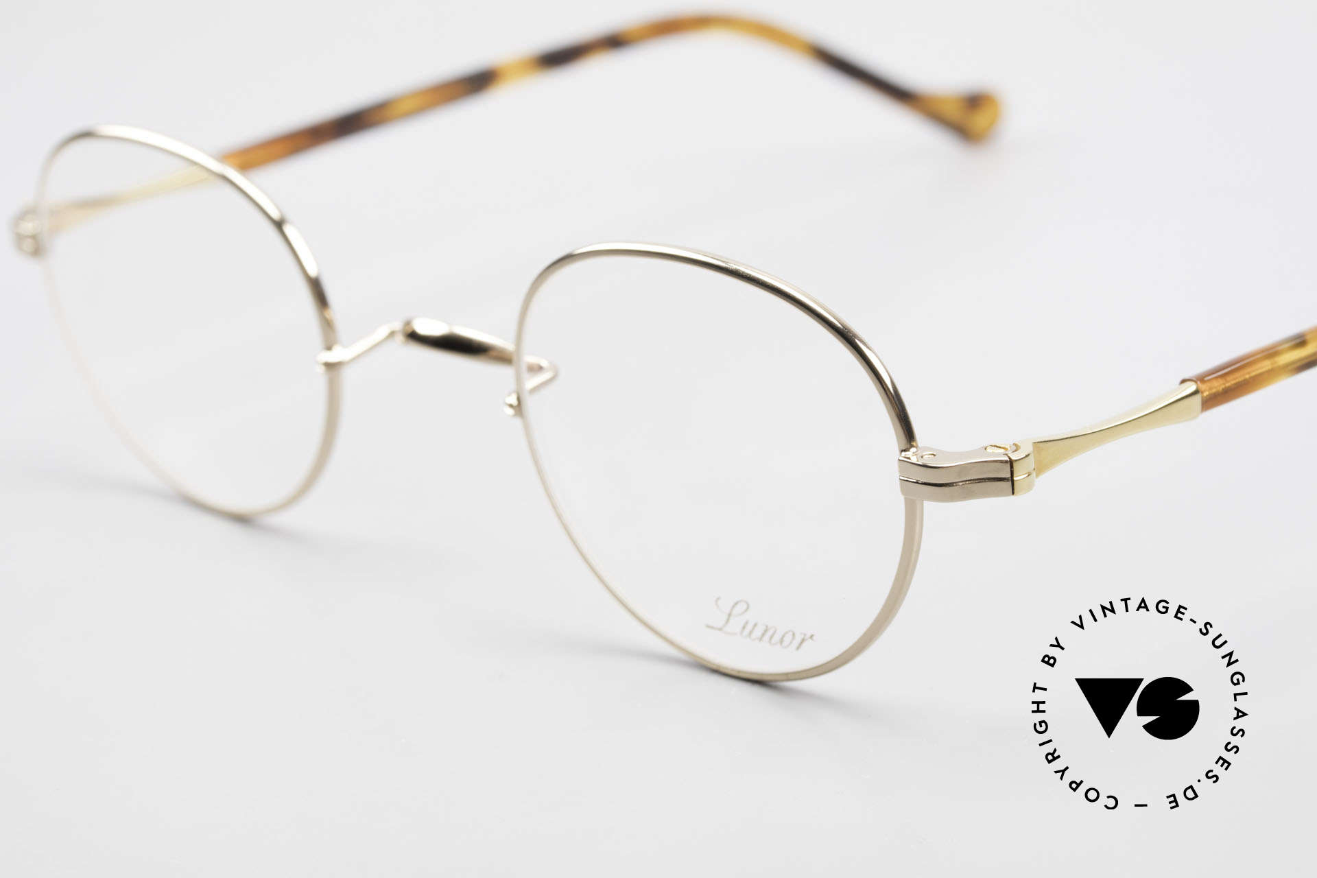 Lunor II A 22 Round Lunor Specs Gold Plated, traditional German brand; quality handmade in Germany, Made for Men and Women