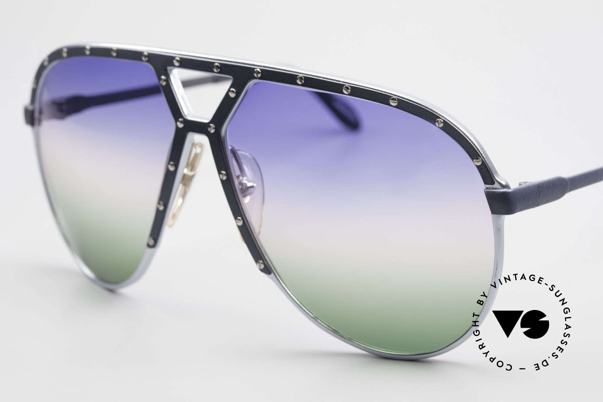 Alpina M1 Customized 80's One of a Kind, with fancy, customized tricolor-gradient sun lenses, Made for Men