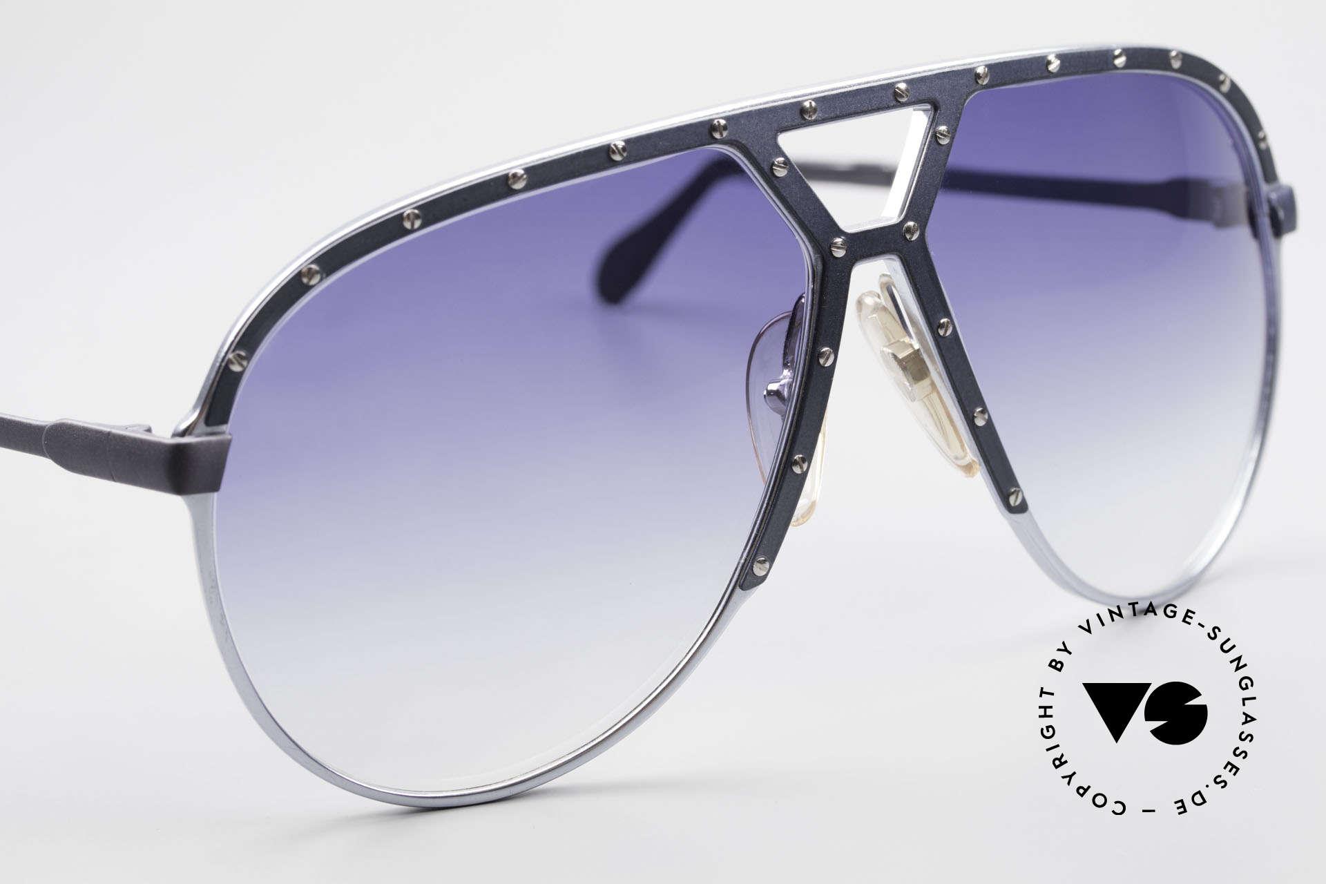 Alpina M1 Extra Large M1 80's Sunglasses, unworn (with dark blue sun lenses) and Bvlgari case, Made for Men