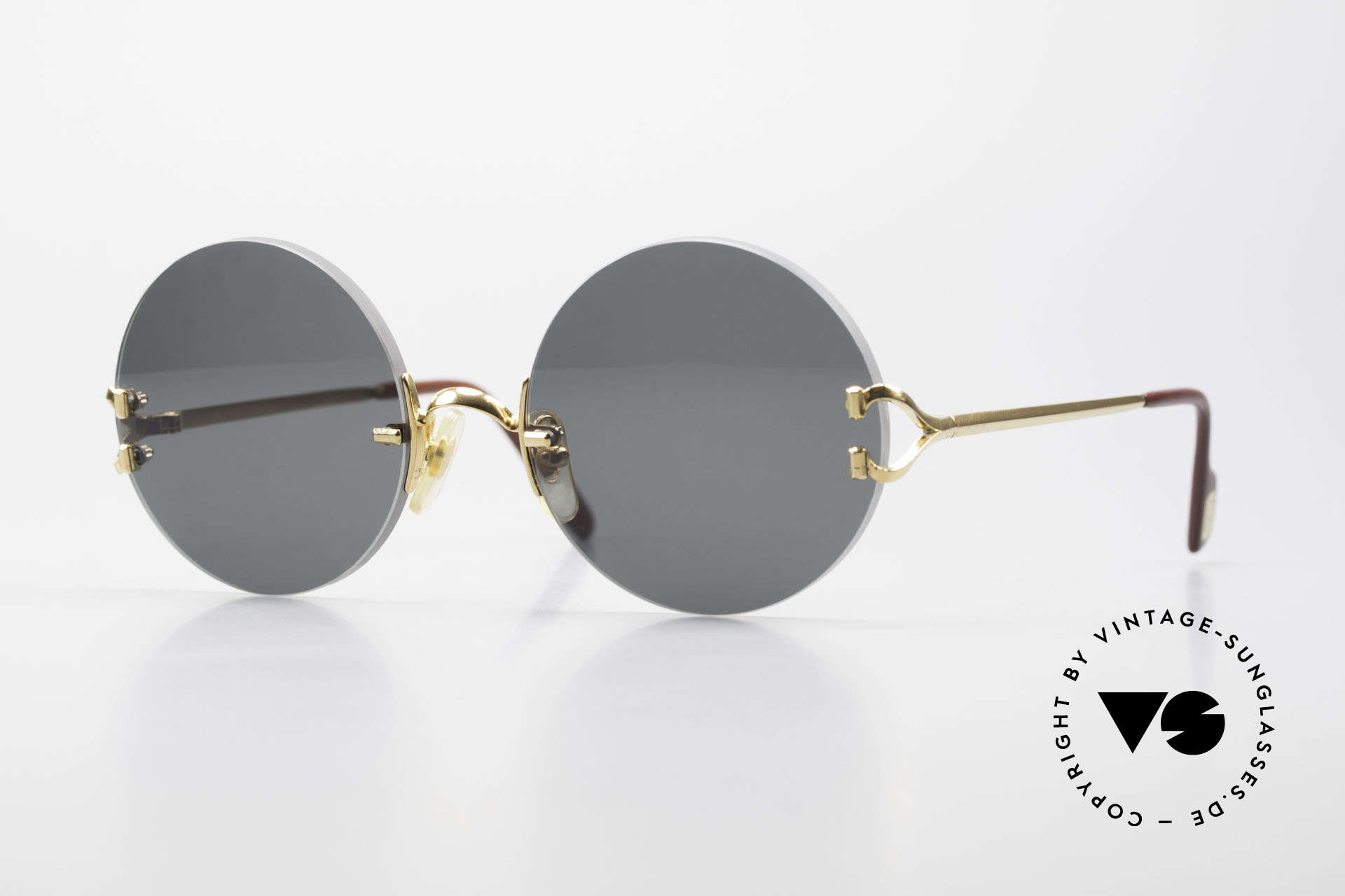 Cartier Madison Small Round Luxury Sunglasses, noble rimless CARTIER luxury sunglasses from 1997, Made for Men and Women