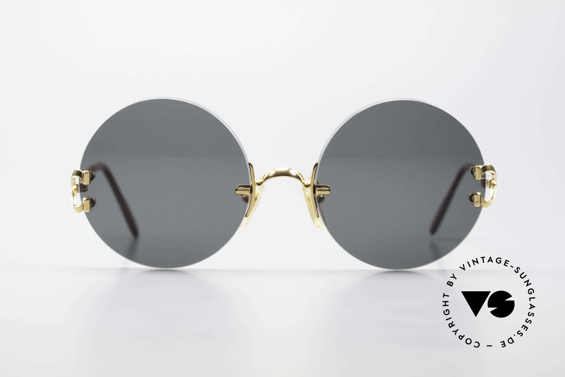 Cartier Madison Small Round Luxury Sunglasses, precious round designer shades; 22ct GOLD-PLATED, Made for Men and Women