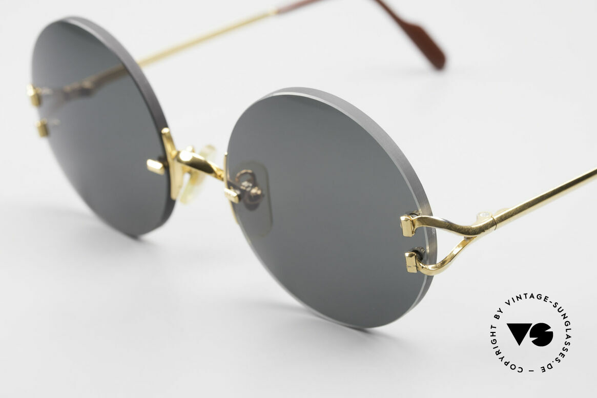 Cartier Madison Small Round Luxury Sunglasses, with new CR39 UV400 lenses in gray-green G15 color, Made for Men and Women