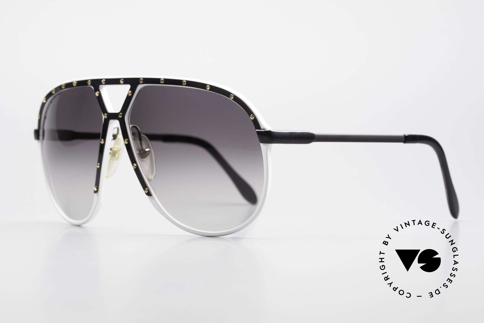 Alpina M1 Limited 80's White Black Gold, with dark gray-gradient sun lenses (100% UV prot.), Made for Men